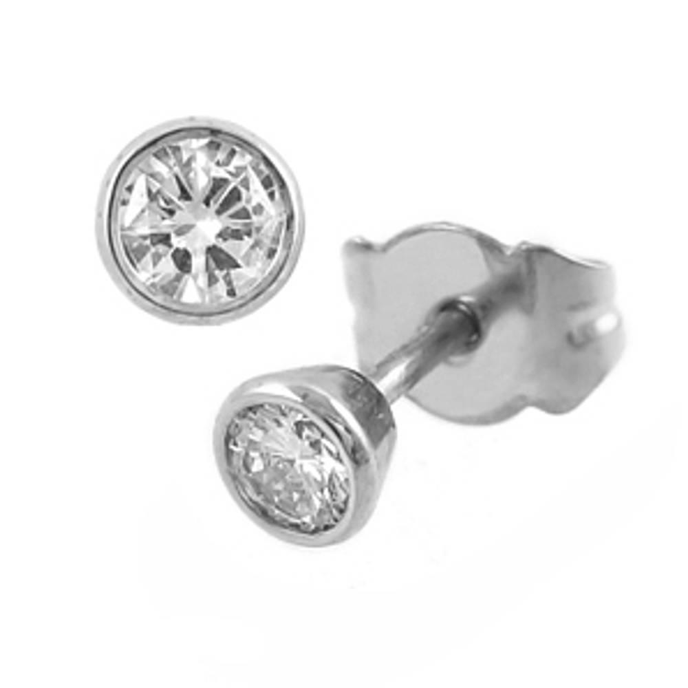 Single stone brilliant cut diamond rubover set stud earrings
