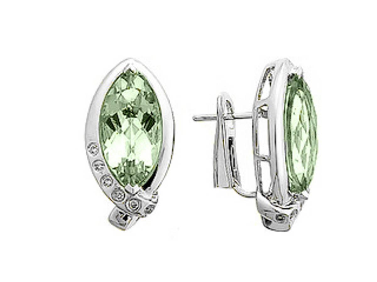 Green navette amethyst and diamond stud earrings in 18 ct white gold