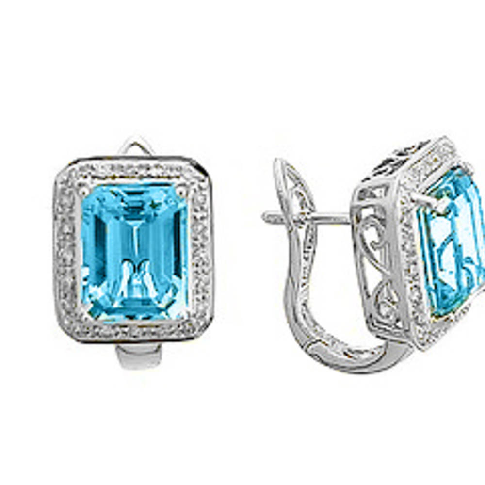 Blue topaz and diamond cluster stud earrings in 18 ct white gold