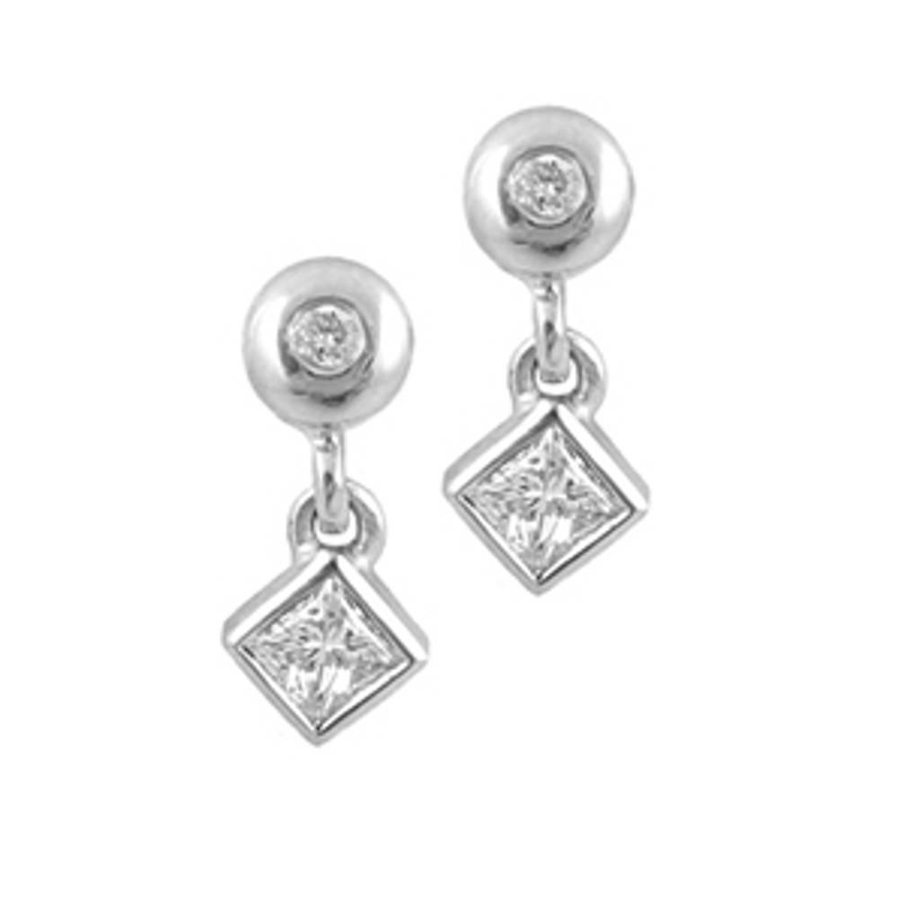 Diamond Stud Drop Earrings