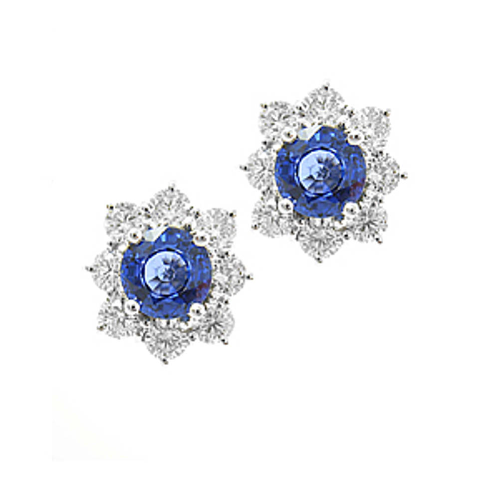 Round sapphire and diamond cluster stud earrings in 18 ct white gold