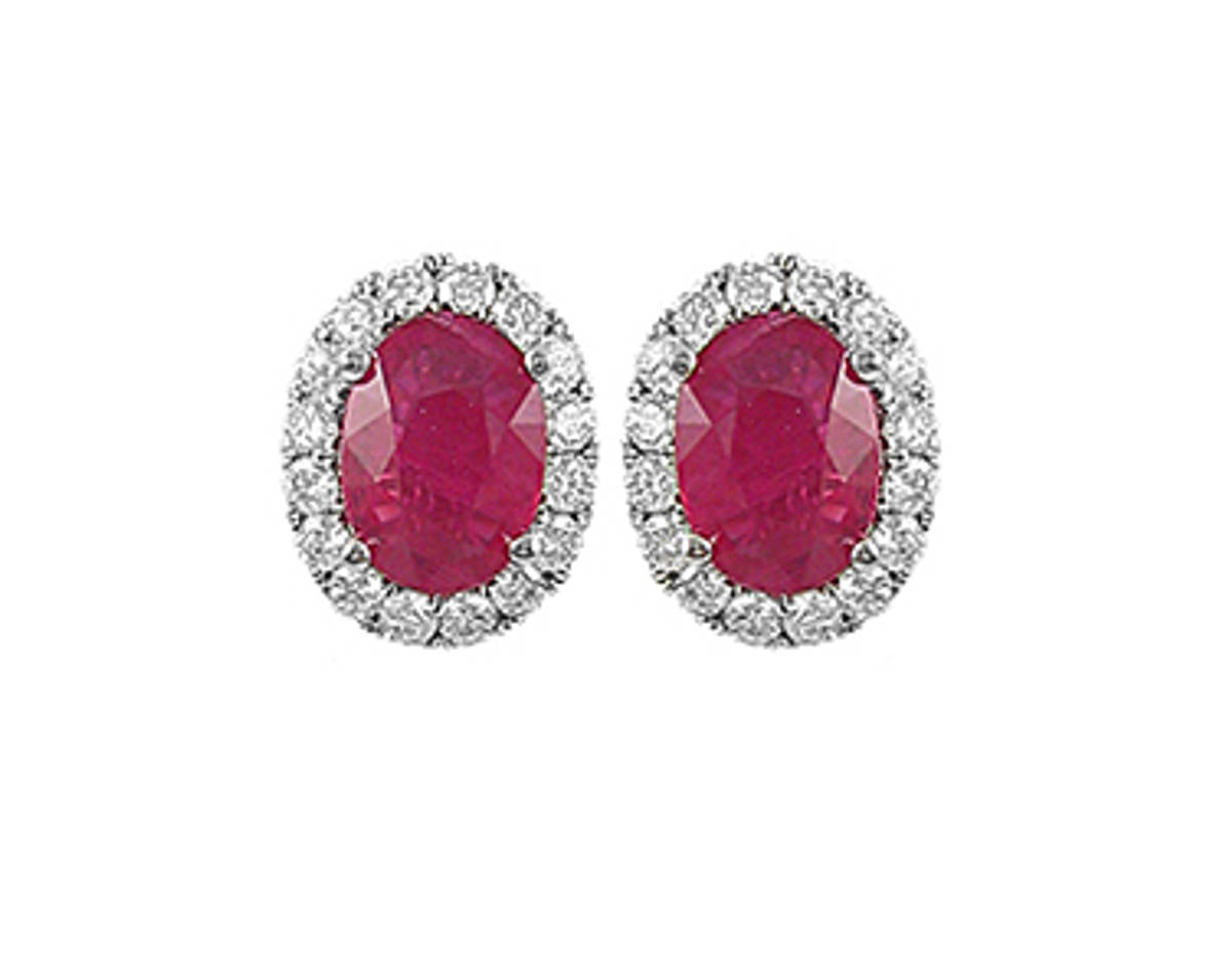 Oval ruby and round diamond cluster stud earrings in 18 ct white gold