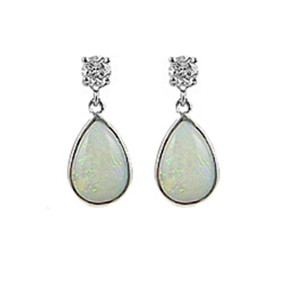 Pearshape opal and round diamond drop earrings in 18 ct white gold
