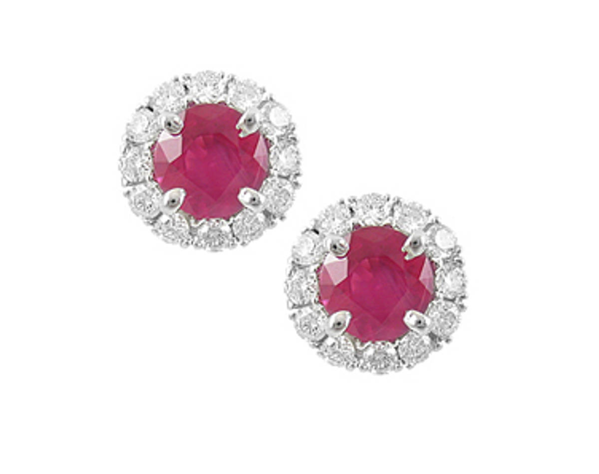 Round ruby and diamond cluster stud earrings in 18 ct white gold