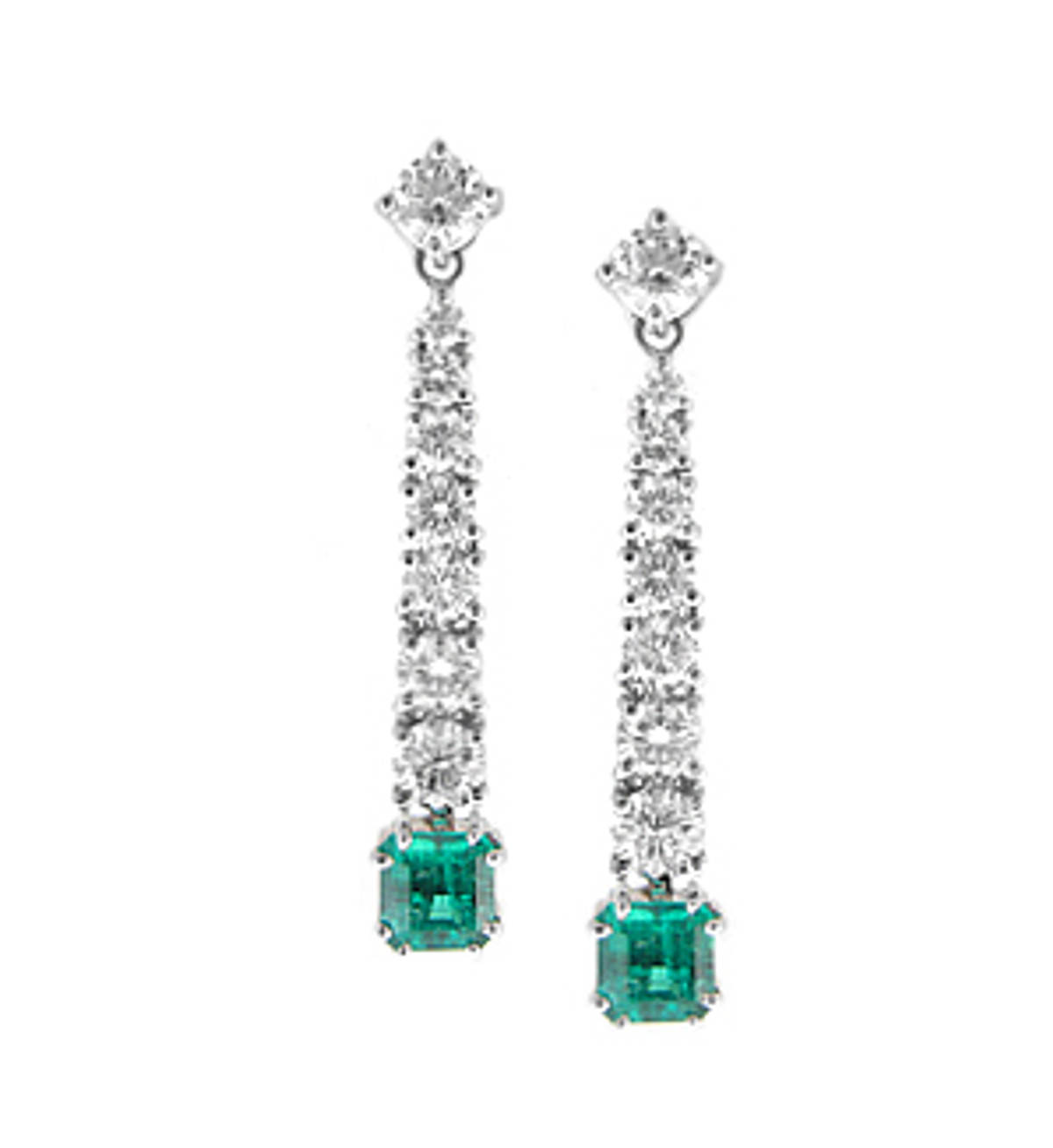 Square emerald and round diamond drop earrings. 2.33ct diamonds and 1.54ct emeralds set in 18k white gold