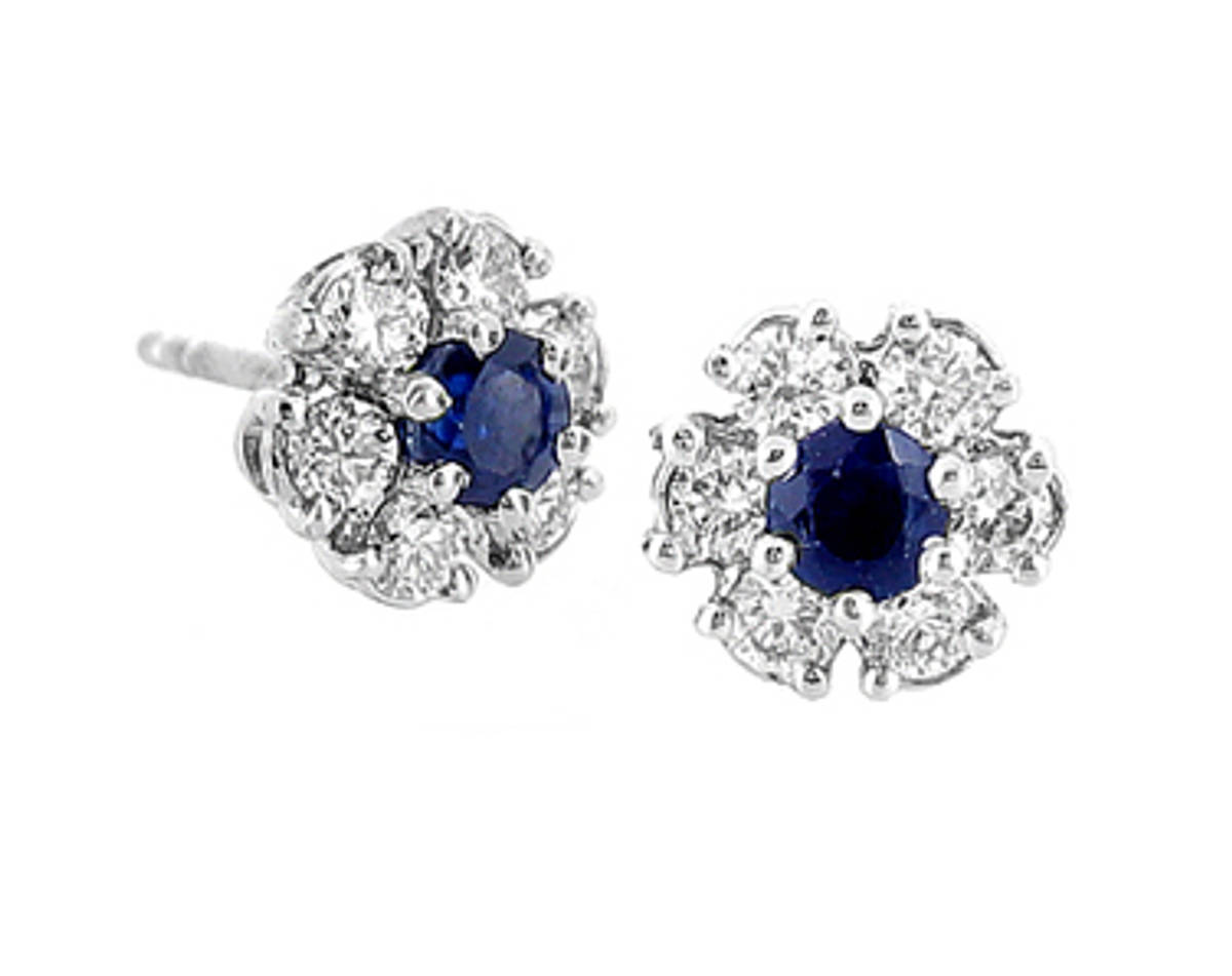 Round sapphire and diamond cluster stud earrings