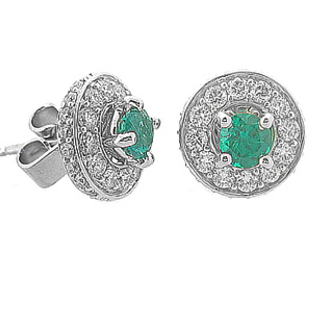 Round emerald and diamond cluster stud earrings in 18 ct white gold