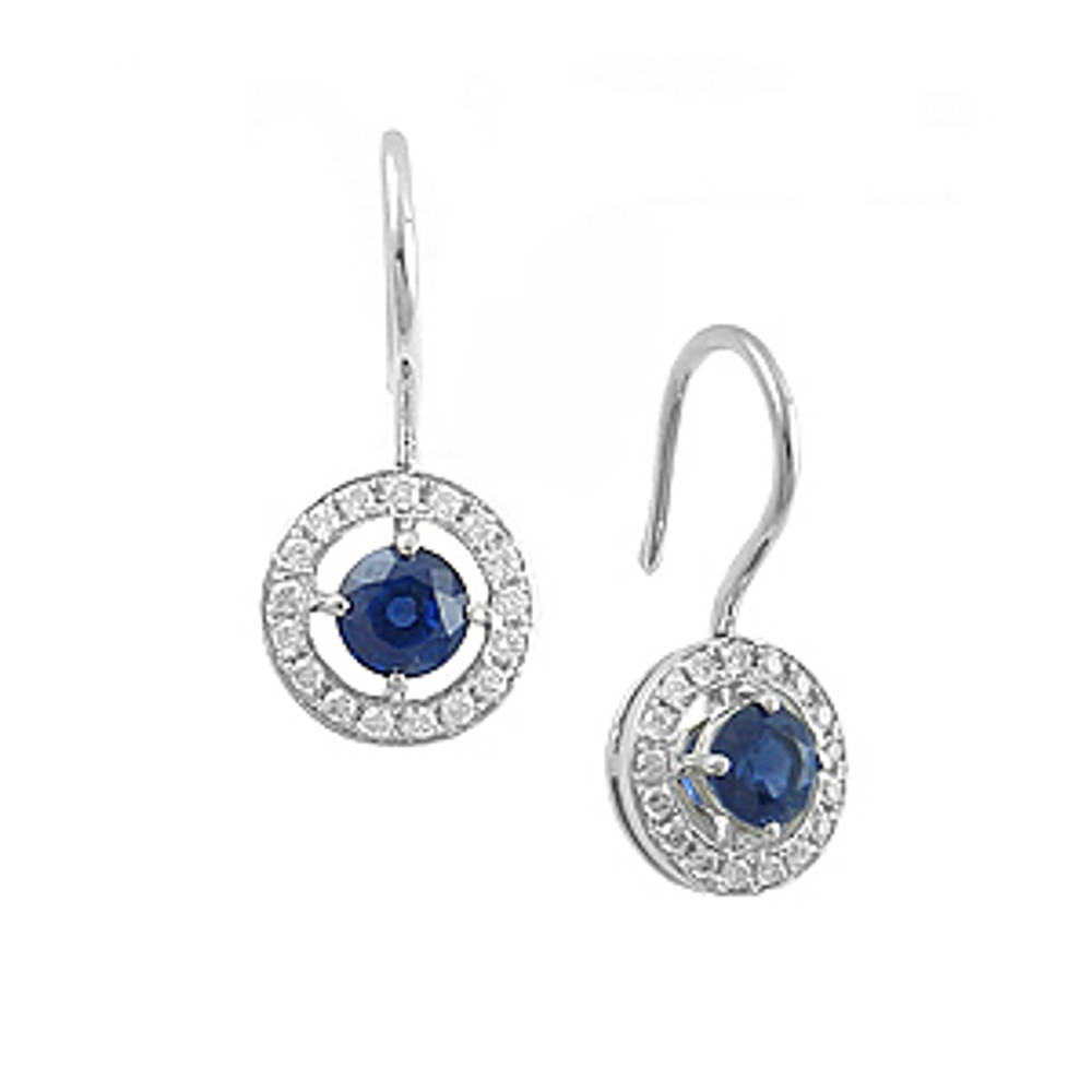 Round sapphire and diamond cluster hoop earrings in 18 ct white gold