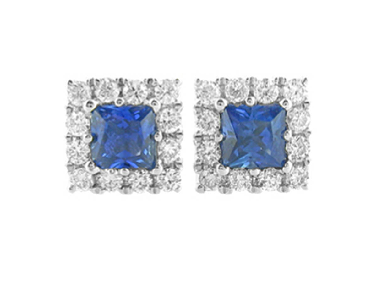 Square sapphire and round diamond cluster stud earrings in 18 ct white gold