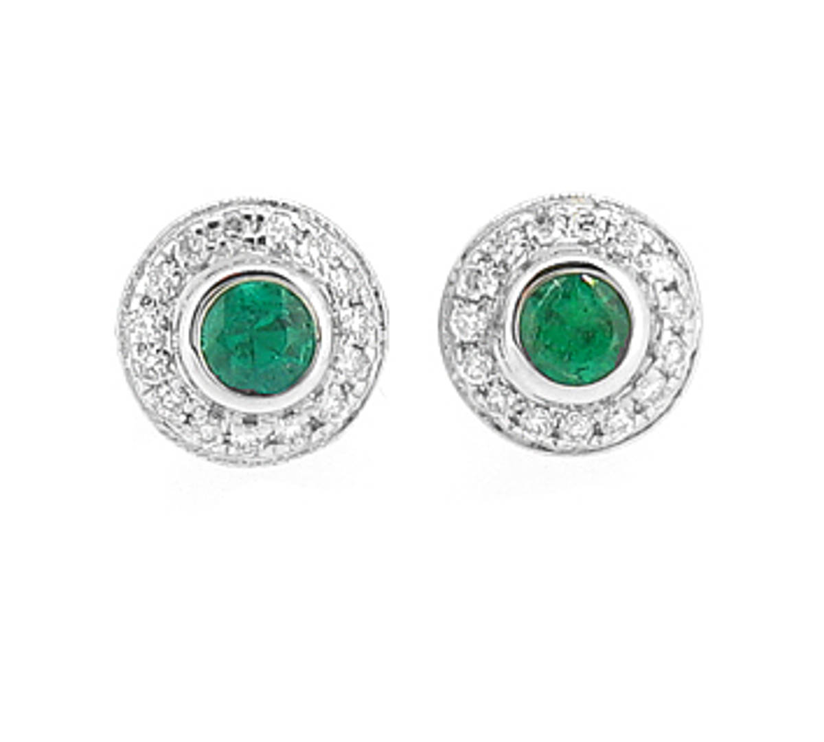 Emerald and diamond cluster stud earrings in 18 ct white gold