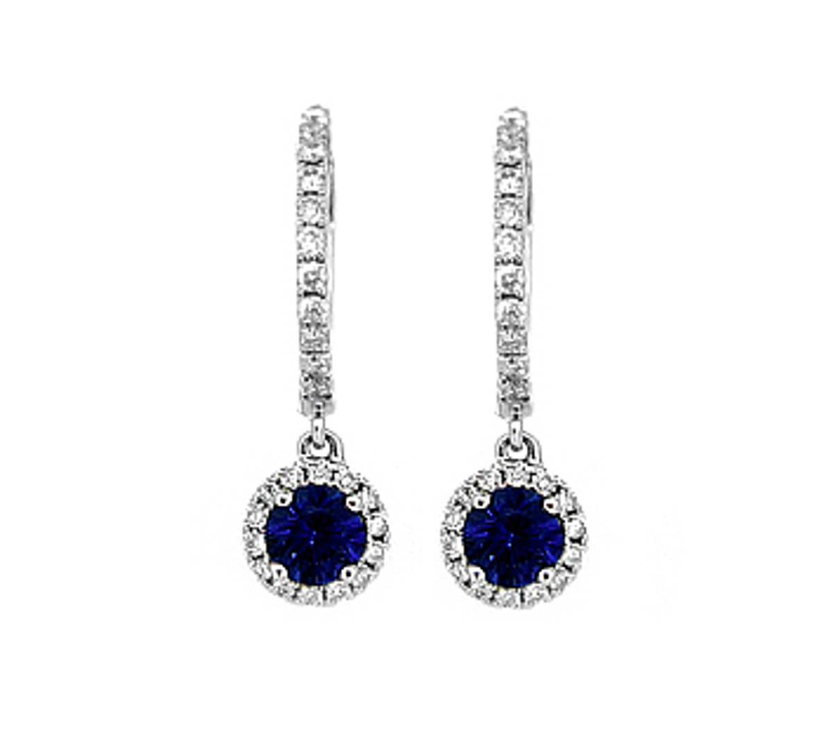 Sapphire and diamond hoop earrings in 18 ct white gold