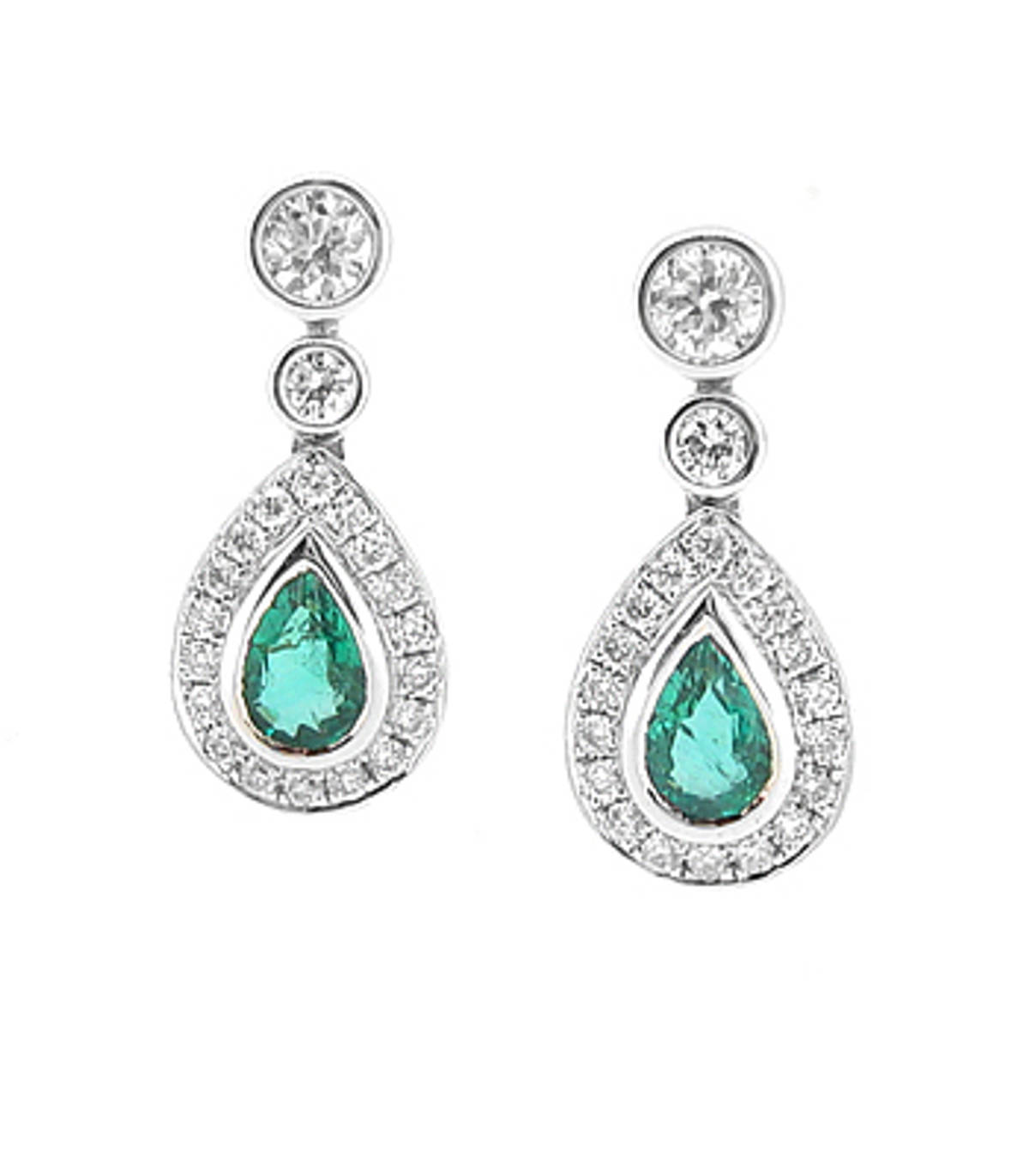 Emerald and diamond cluster drop earrings in 18 ct white gold