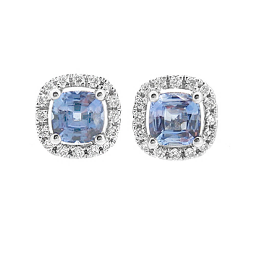 Cushion shape sapphire and diamond cluster stud earrings in 18 ct white gold