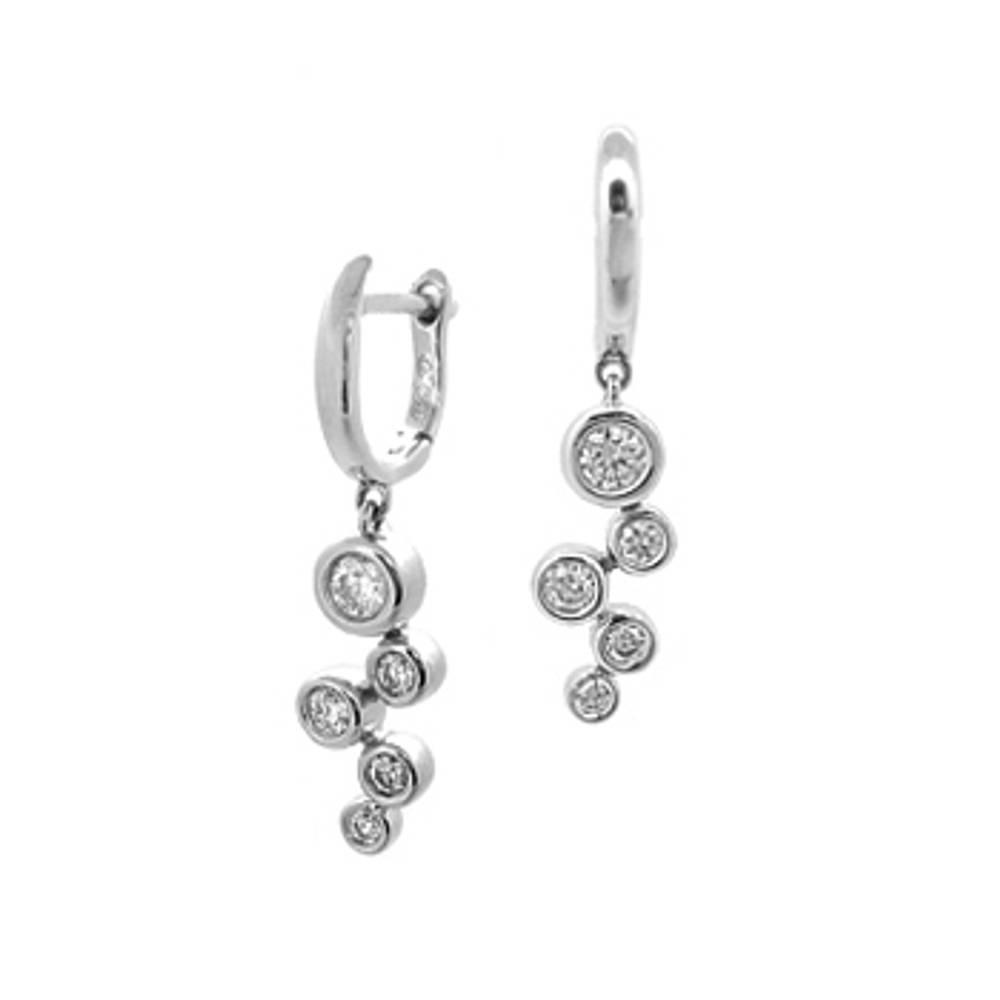Diamond rubover set fancy drop earrings
