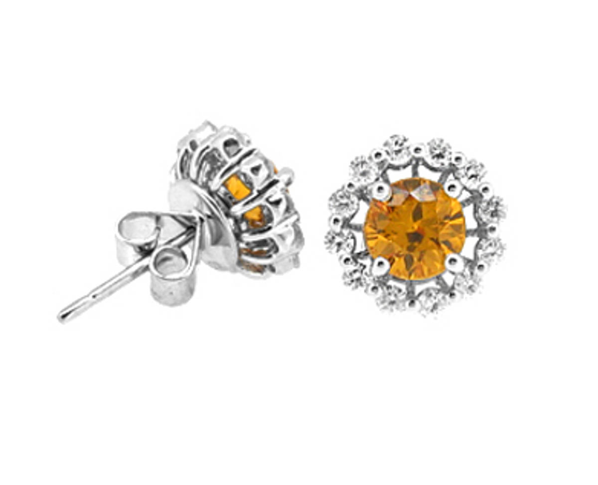 Round yellow sapphire and diamond cluster stud earrings in 18 ct white gold