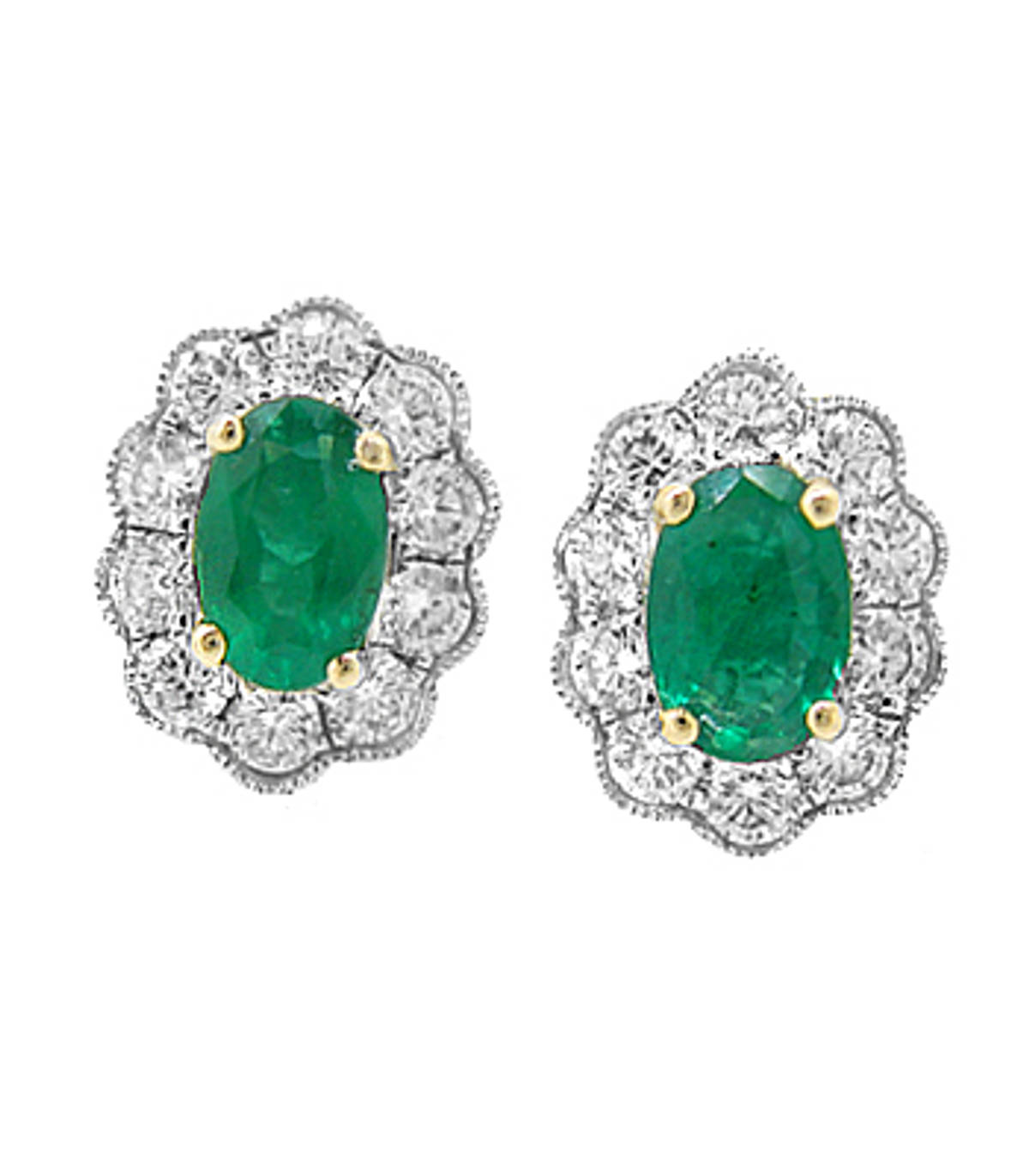 Oval emerald and diamond cluster stud earrings in 18 ct white gold