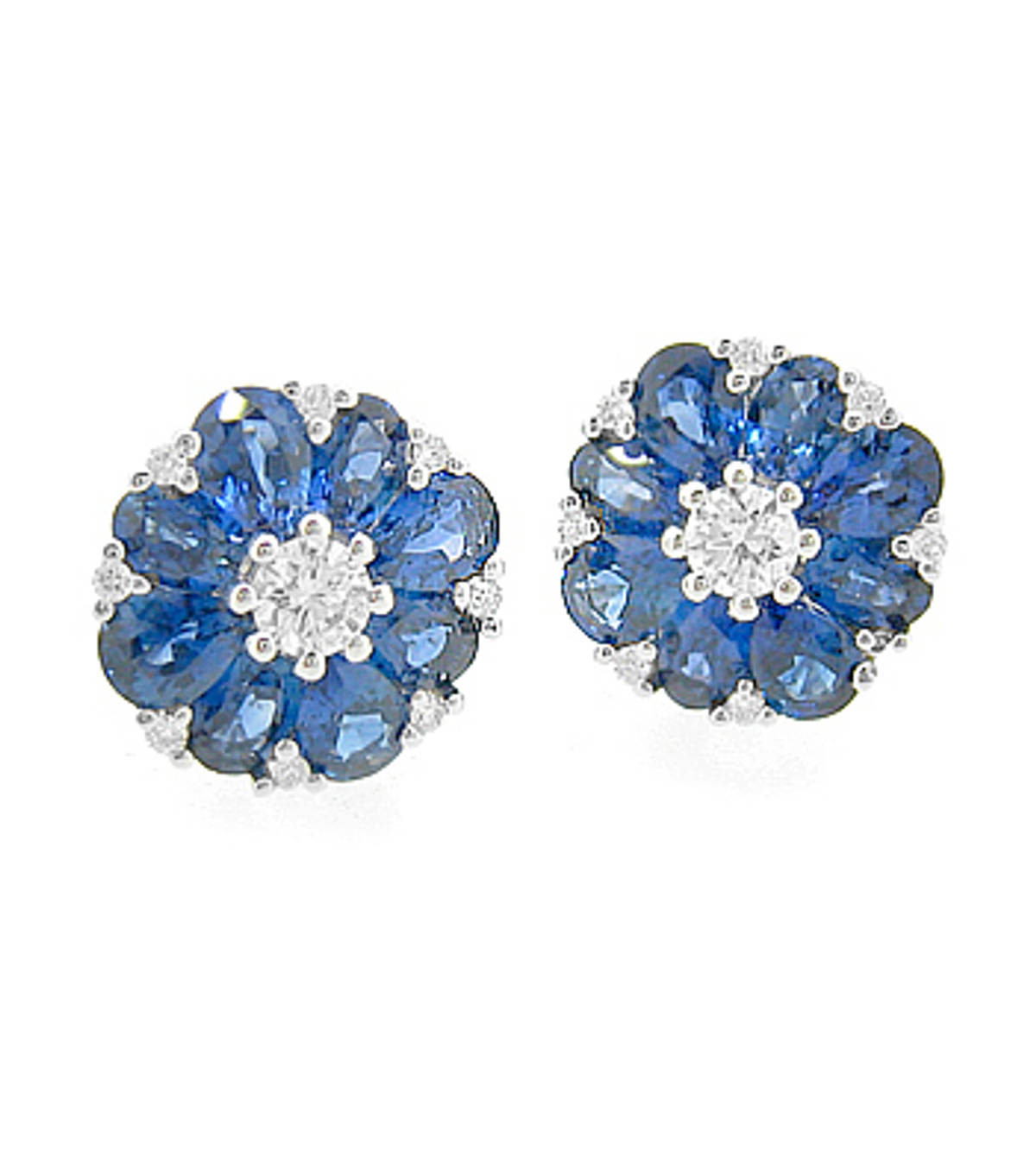 Sapphire and diamond cluster stud earrings in 18 ct white gold