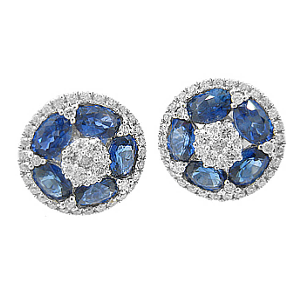 Sapphire and diamond cluster stud earrings