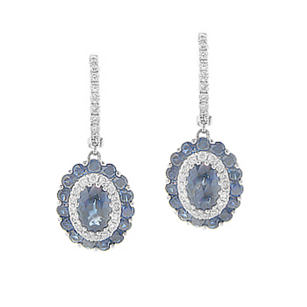 18 carat white gold sapphire 1.99ct/diamonds 0.31ct cluster hoop earrings