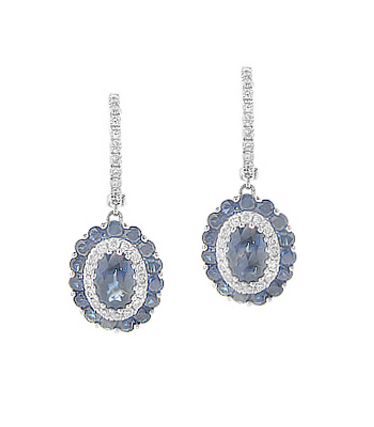 18 carat white gold sapphire 1.99ct/diamonds 0.31ct cluster hoop earrings