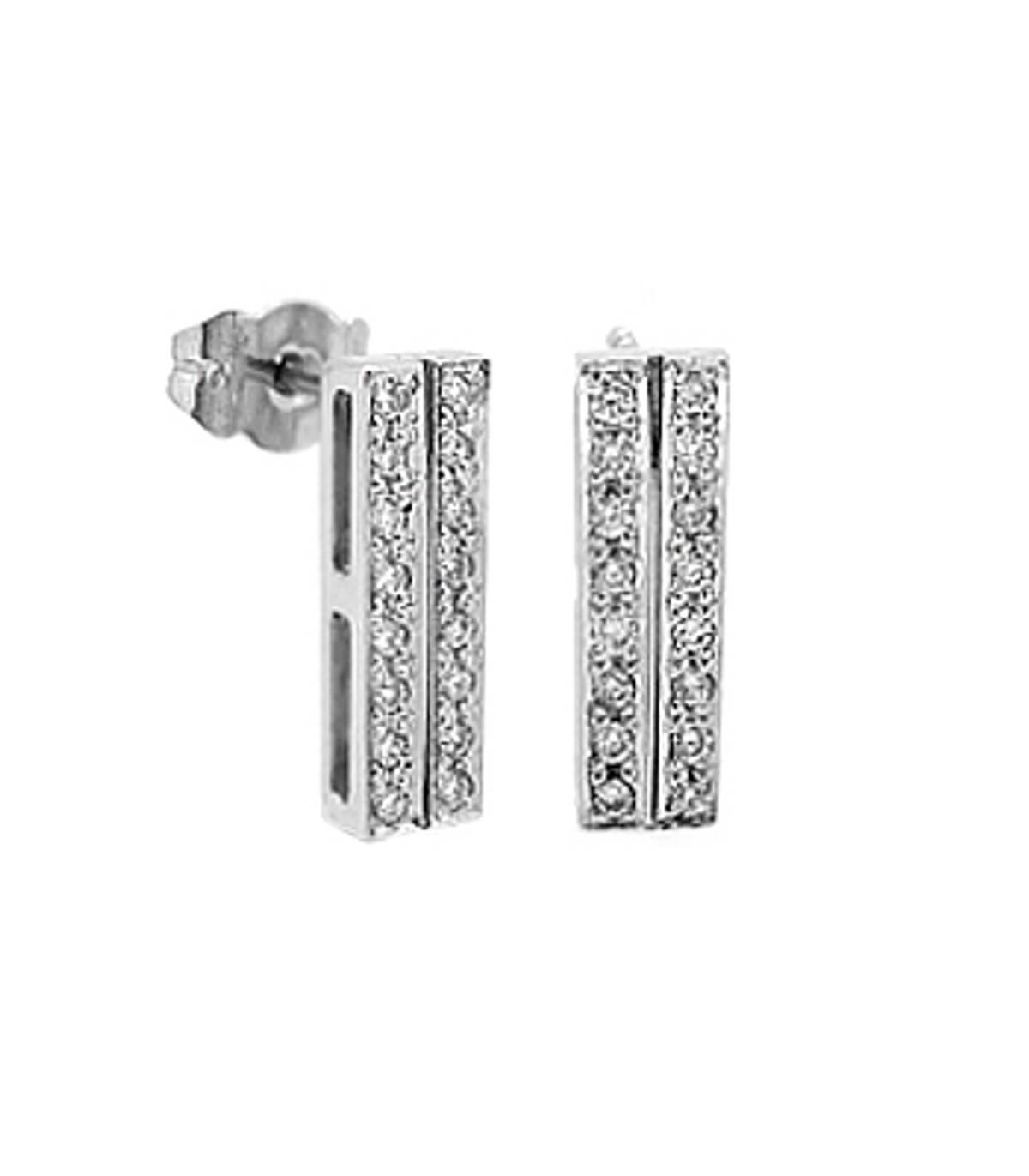 2 row diamond bar earrings