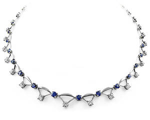 Sapphire and diamond necklace in 18 ct white gold