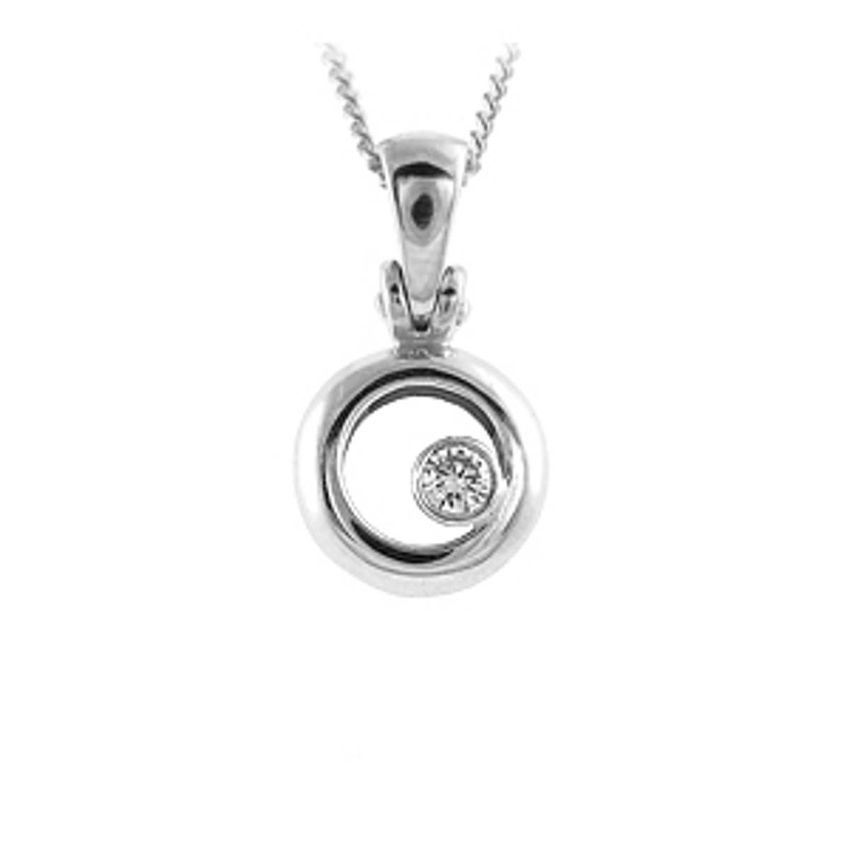 DP3439Diamond rubover set circle pendantPictured item: 0.12ct brilliant cut diamond set in 18k white goldAvailable in: 18k gold