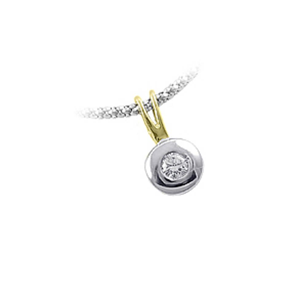Diamond rubover set solitaire pendant