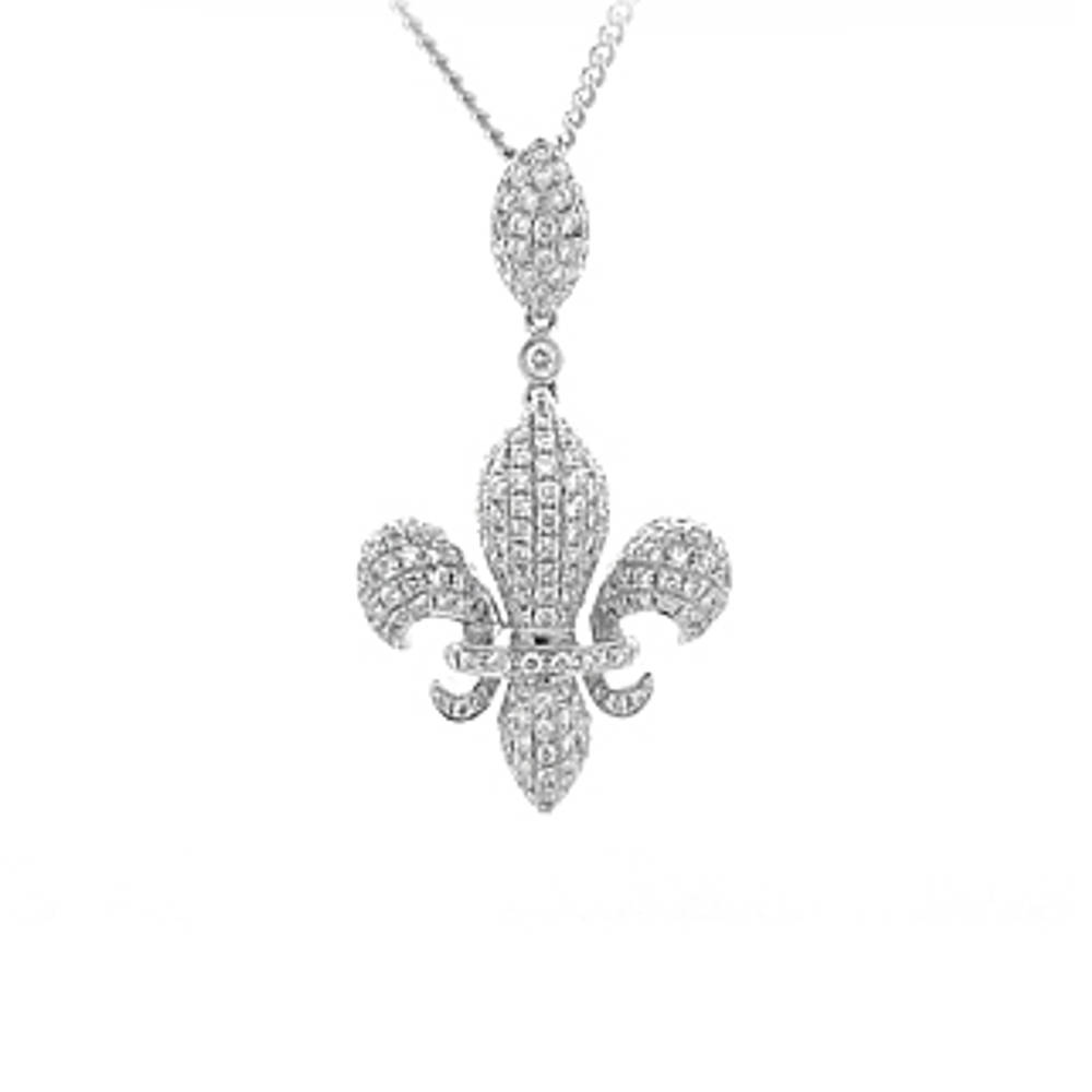 18 carat white gold FLEURS DE LYS pendant set with 0.82cts diamonds