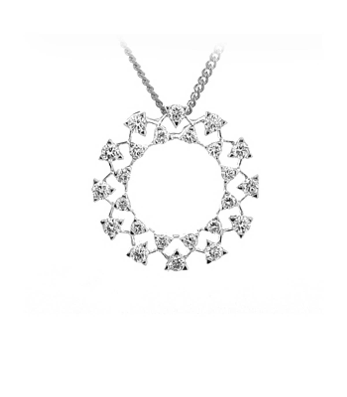 "18k White Gold Brilliant Cut Diamond Circle Pendant On 18k White Gold 18""Chain Total Diamond Weight 0.82cts Brilliant CutMetal  18k White Gold Pendant length  2cmPendant width  2cm"