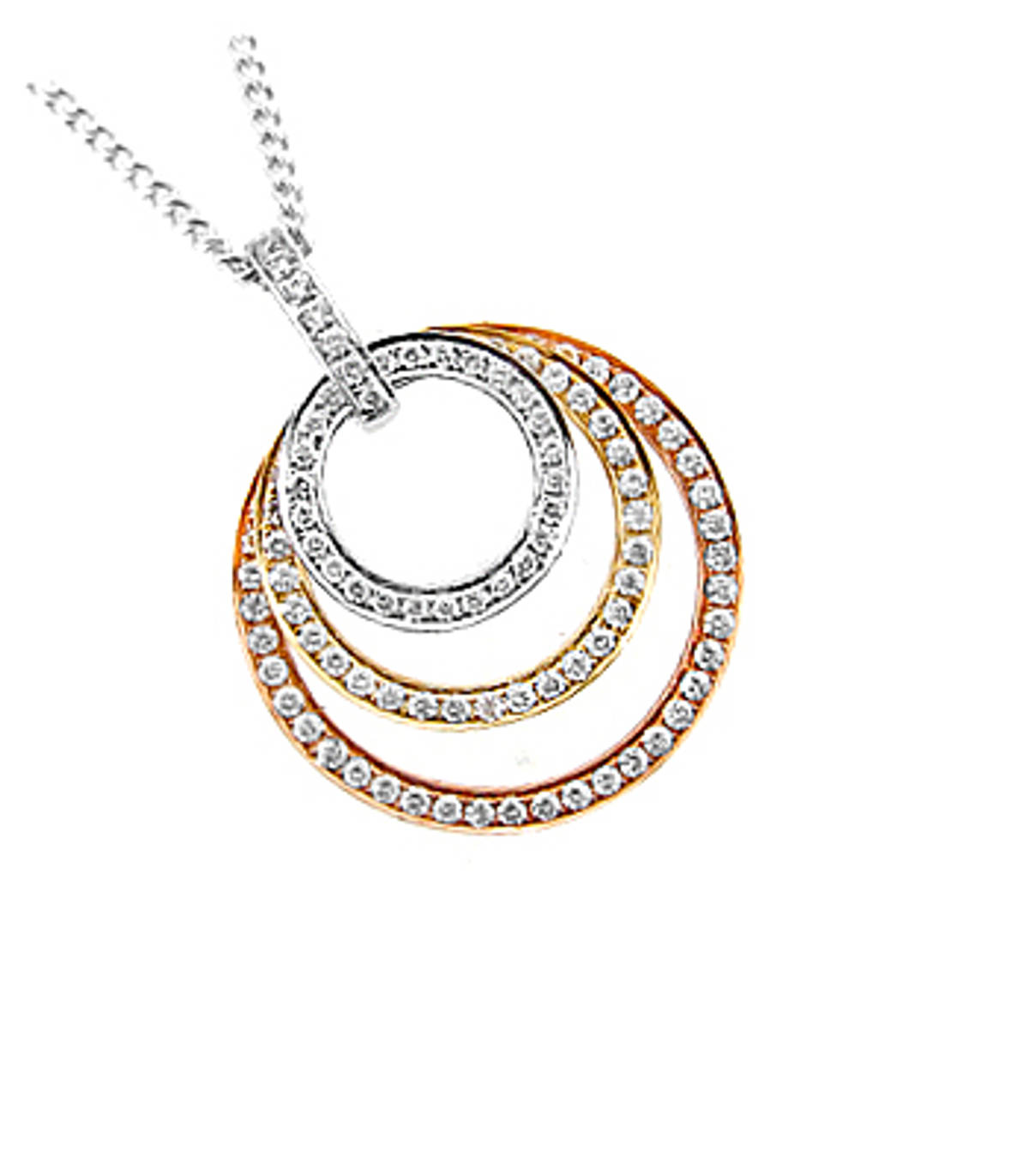 18 carat red/yellow/white gold pendant with 0.67cts diamonds