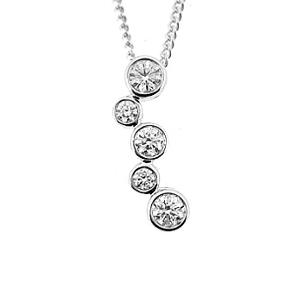 5 stone diamond rubover set drop pendant