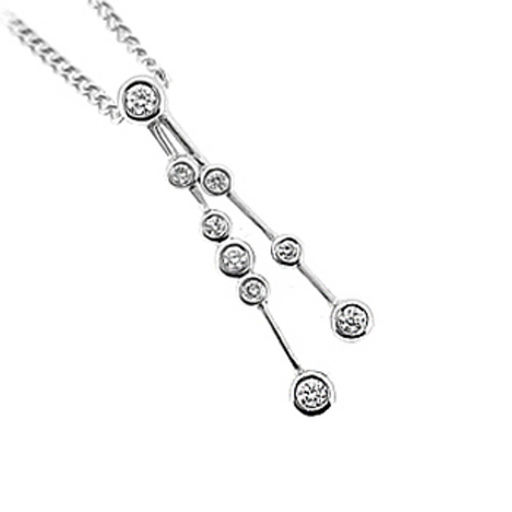 9 stone diamond rubover set drop pendant