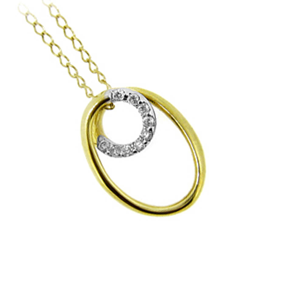 """pendant on 9 carat yellow gold 18\""""chain with 0.18cts diamonds 9N032/18\"""" 1.2gr"""