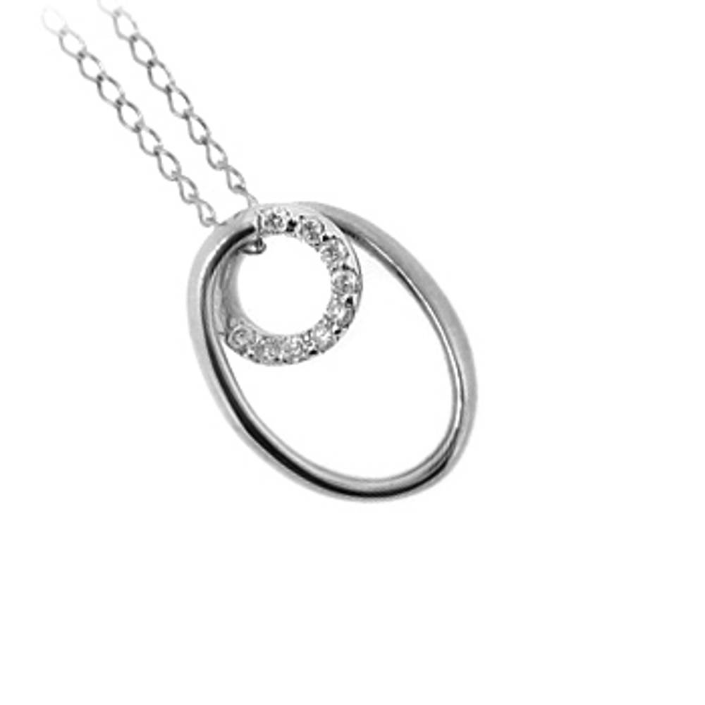 """9 carat 18\"""" white gold chain pendant with 0.18cts diamonds 9C504 18\"""" 2.6gr"""