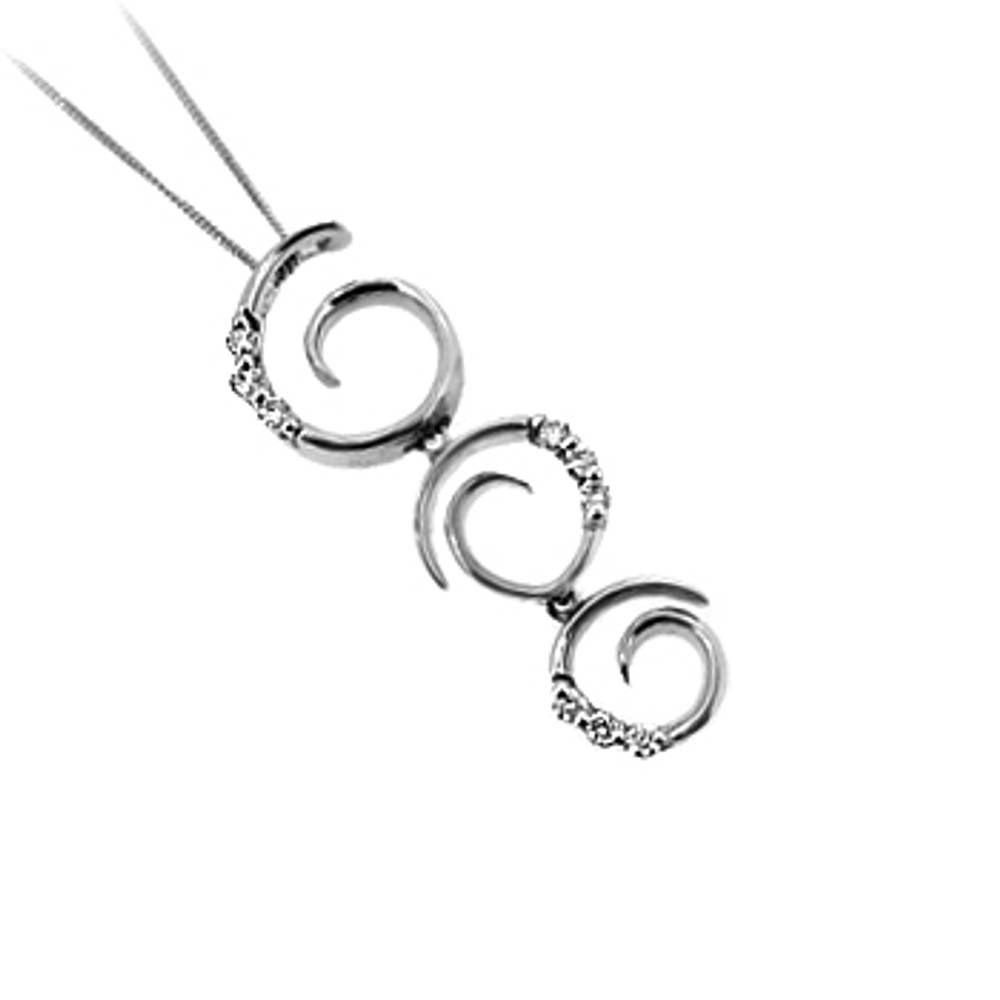 "9 carat white gold pendant with 0.13cts diamonds on 18"" chain"