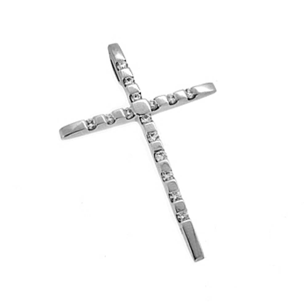 10 carat white gold 0.45cts diamonds cross pendant