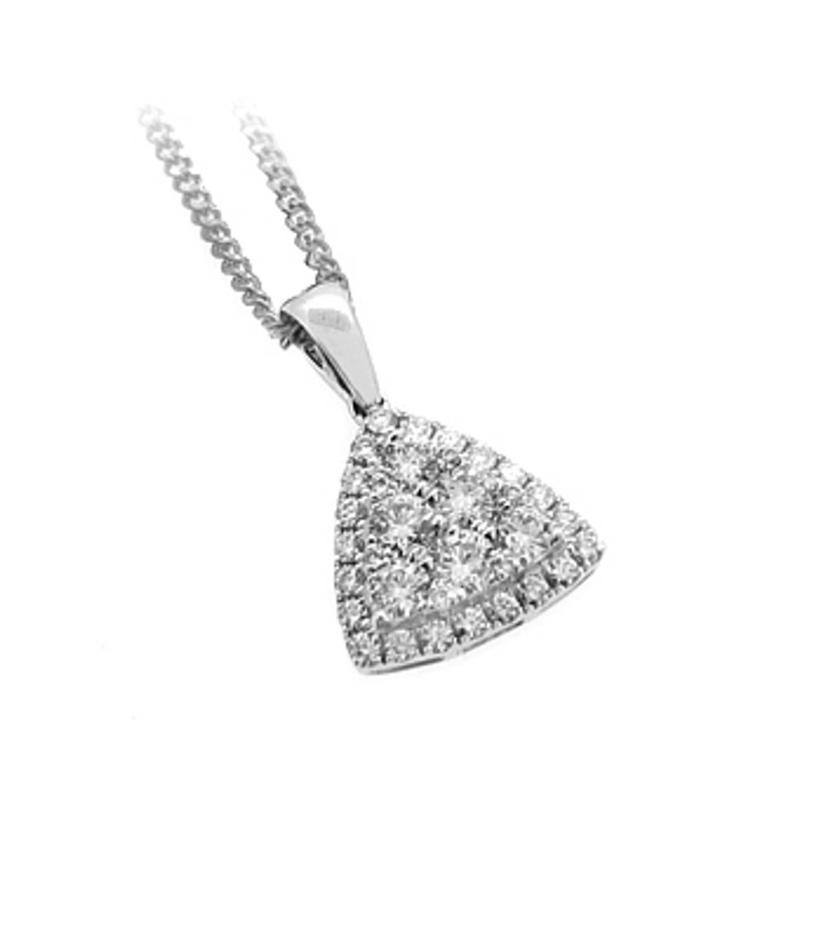 "18k white gold brilliant cut diamond cluster pendant on 18k white gold 18"" chain DETAILS Carat: total diamond weight 0.62cts Pendant length 1.6cm Pendant width 1.2cm"