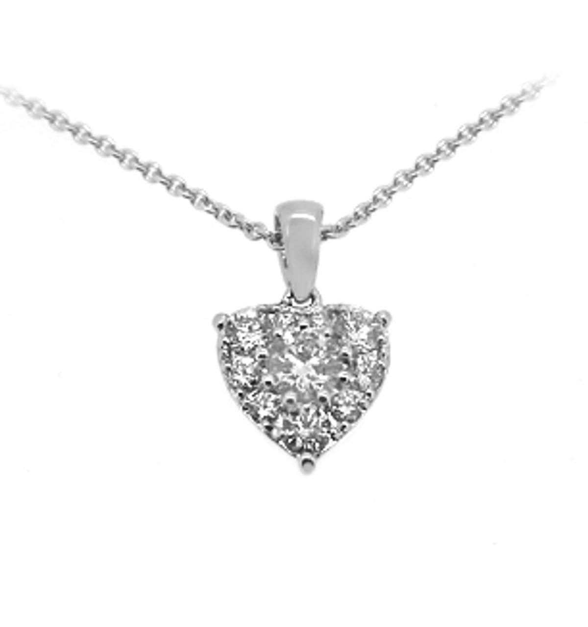 "18k White Gold Brilliant Cut Diamond Heart Shape Cluster Pendant On 18k White Gold 18""  Total diamond weight 0.43cts Pendant length 1.4cmPendant width 0.9cm"