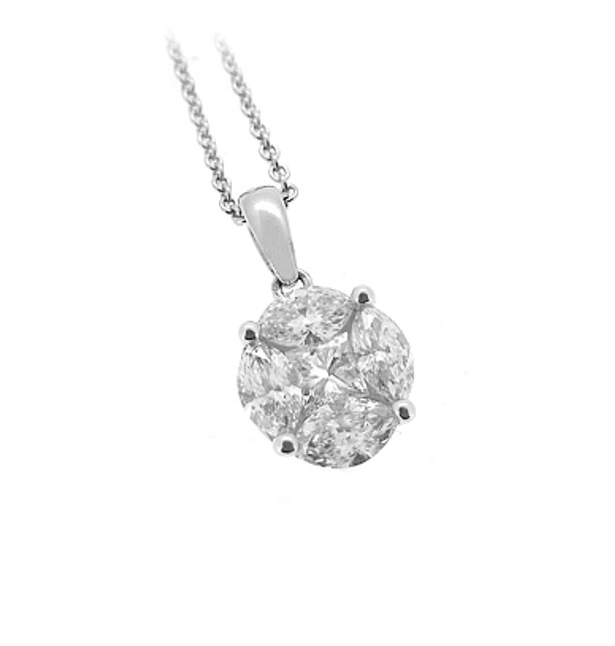 "18k white gold marquise & princess cut diamond cluster pendant on 18k white gold 18"" Chain  Total diamond weight 0.86cts Pendant length including loop 1.5cmPendant width 0.8cm"