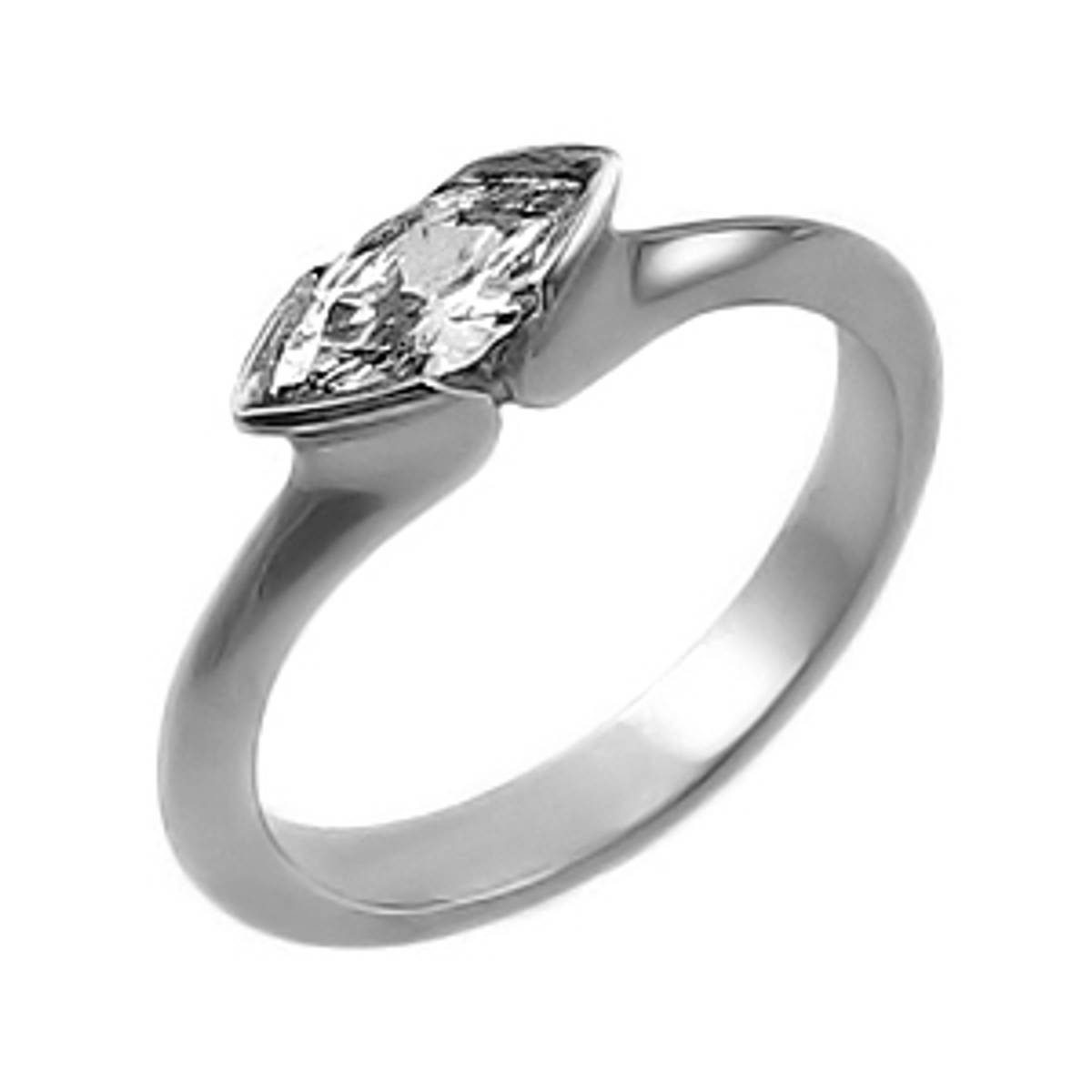 Single stone marquise diamond solitaire ring in platinum