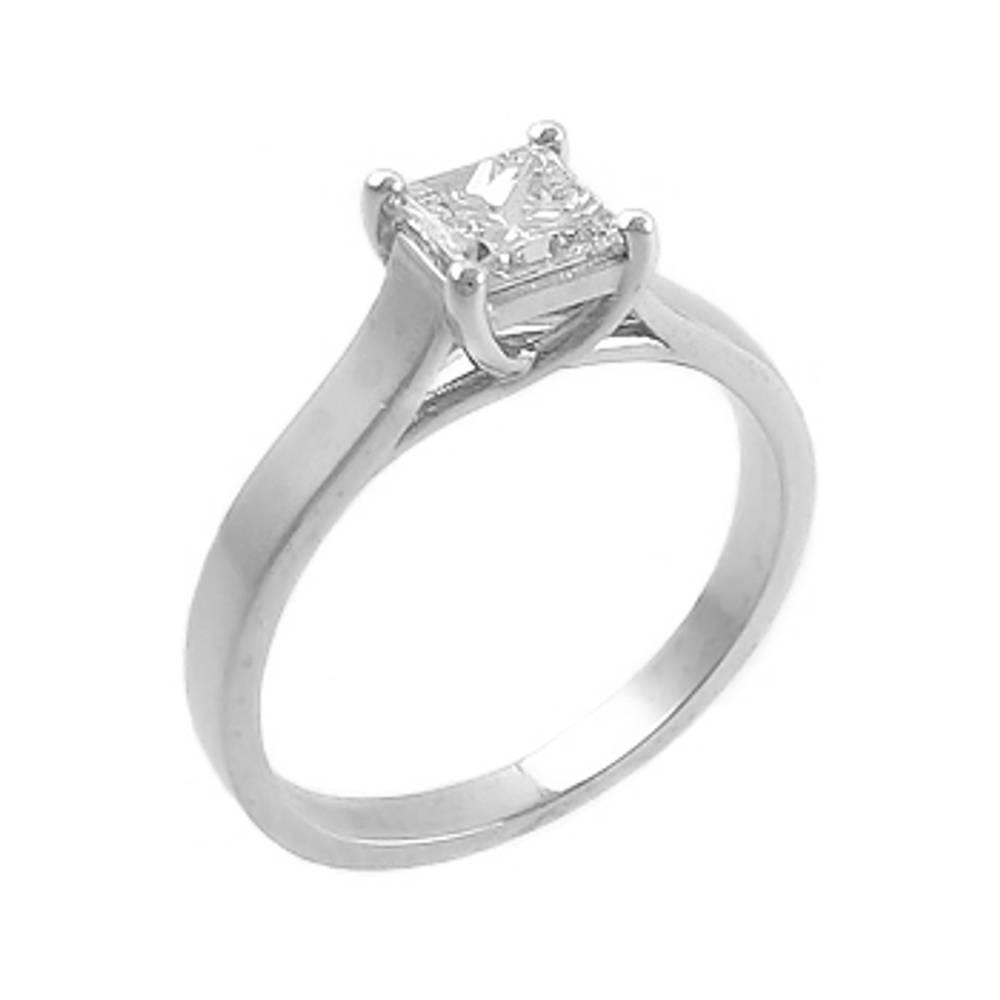 princess cut 0.50ct diamond solitaire ring set in platinum