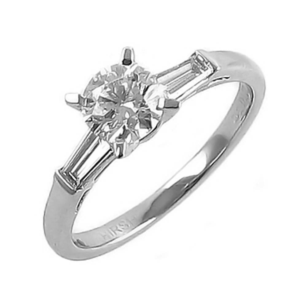 0.66 ct diamond/0.14 baguette diamond engagement ring