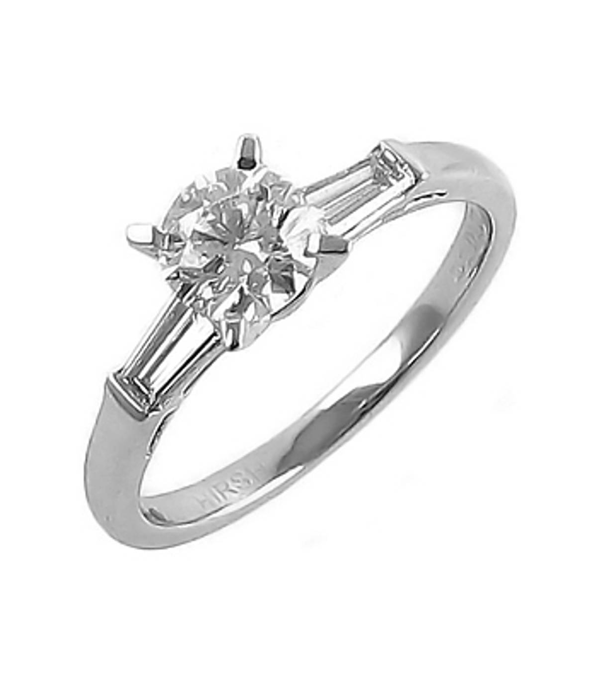 Irish made brilliant cut diamond solitaire engagement ring with baguette diamond shoulders with 0.66 carat brilliant cut centre diamond with 0.14 carat baguette cut diamonds in shoulders set in platinum