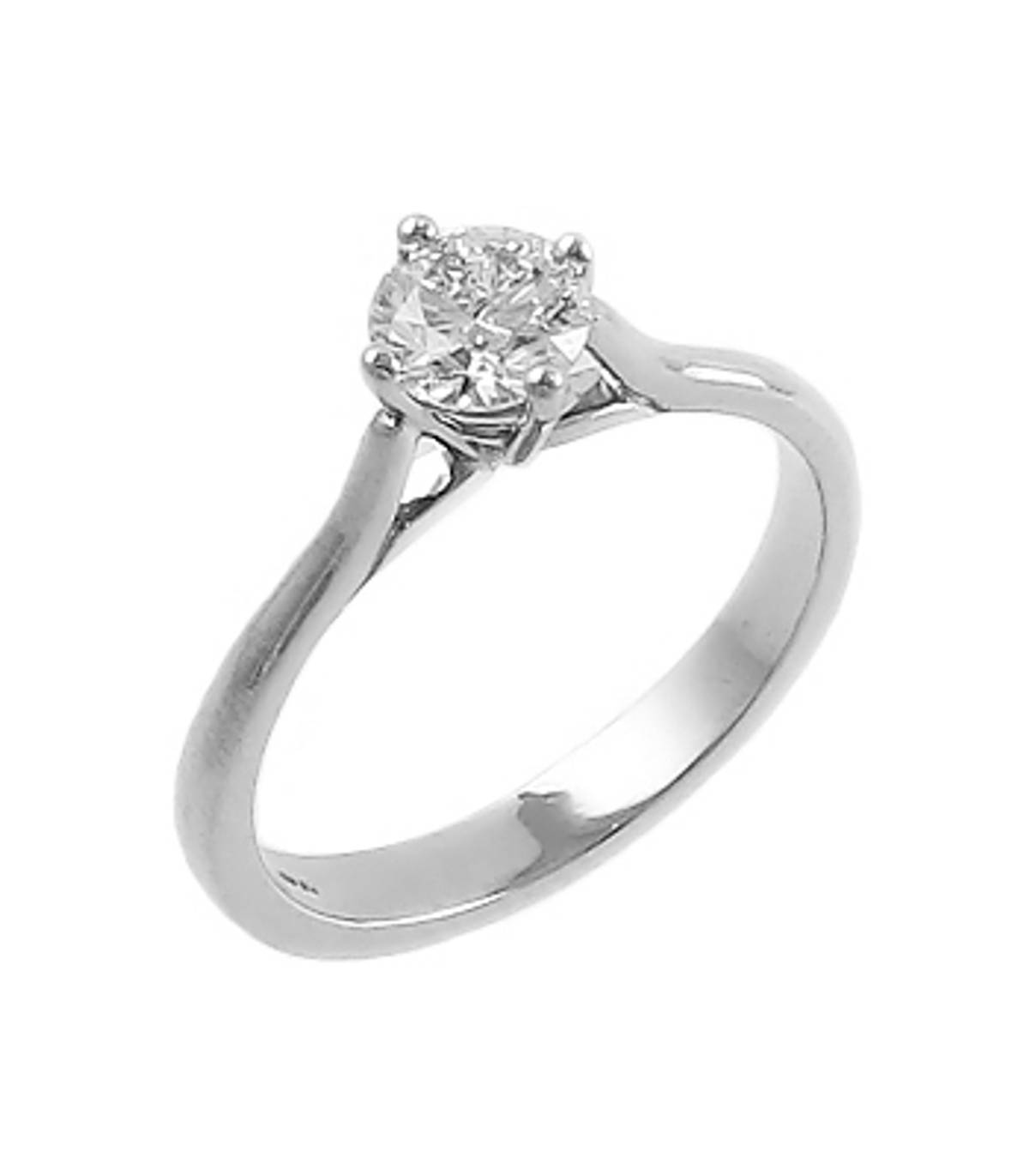 0.62ct brilliant cut diamond 4 claw set engagement ring set in 18ct white gold