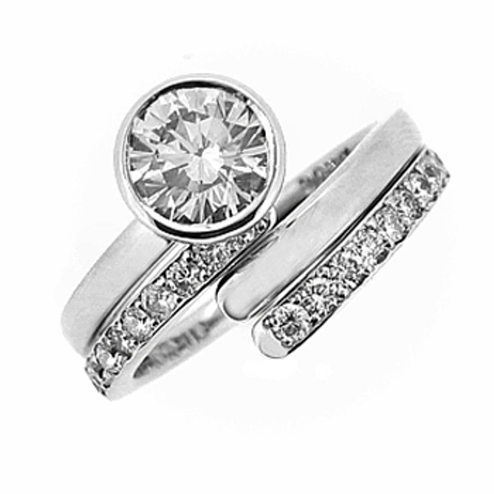 0.32ct/0.14ct 2 band diamond swirl engagement ring