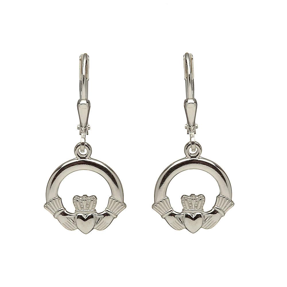 Silver Claddagh Drop Earrings On Hook