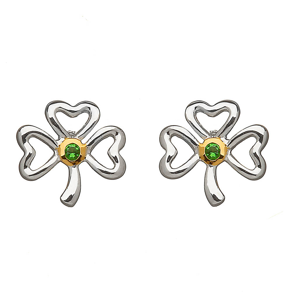 Silver Shamrock Emeral Earrings