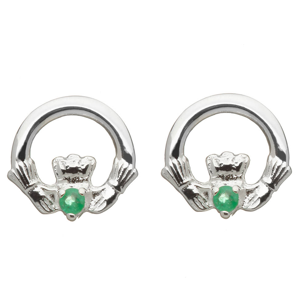 Silver Claddagh Earring Set With Emrds