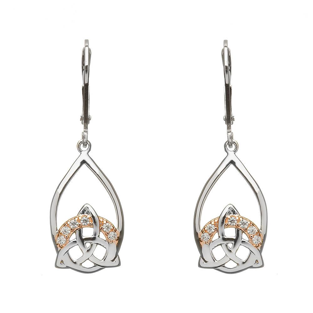 Silver Trinity Drop Earrings With Cz